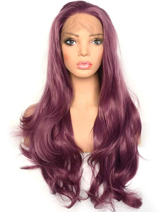 Sexy Purple Lace Front Wig Long Wavy Violet Color Heat Resistant Synthetic Hair Half Hand Tied Replacement Full Wigs for Women 22inches