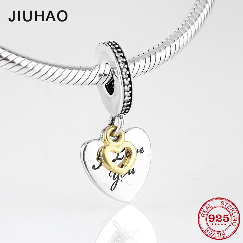 e6cc3274ac910 2019 925 Sterling Silver Fashion I LOVE YOU Heart Gold Plating Fine Pendants  Fit Original Pandora Charm Bracelet Jewelry Making From Dushiring