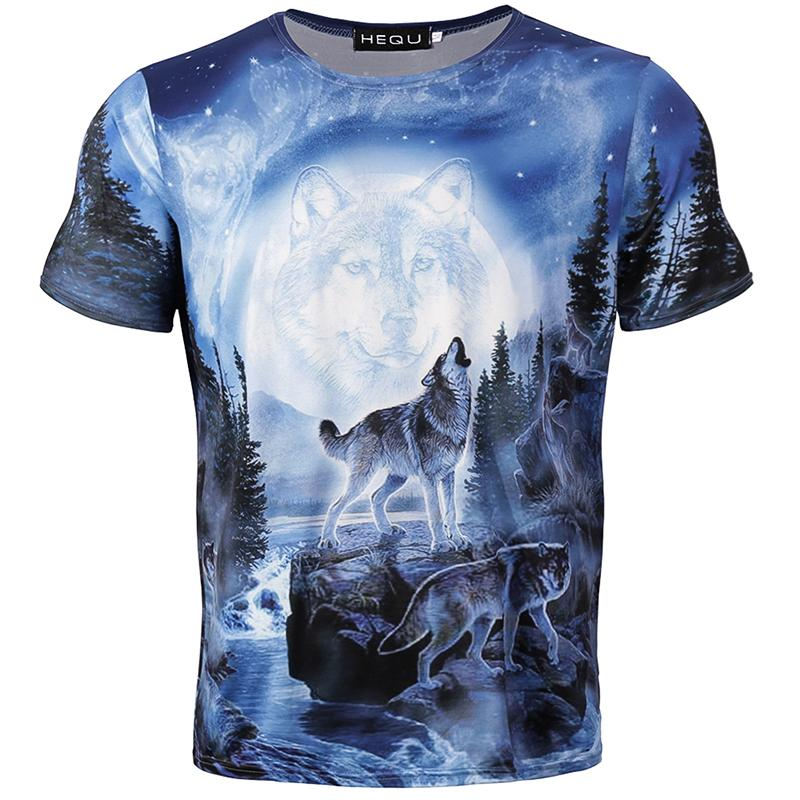 New Summer Brand 3D Wolf Head T-shirt Large Size Man Round Collar Short Sleeve T-shirt Fashion Short Sleeves