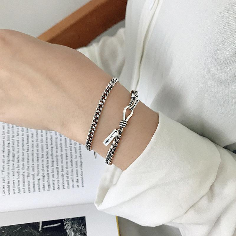 1PC 4MM/5MM LOVERS' Authentic 925 Sterling silver CHUNKY Flat Chain Wrist Bracelet adjust TLS246