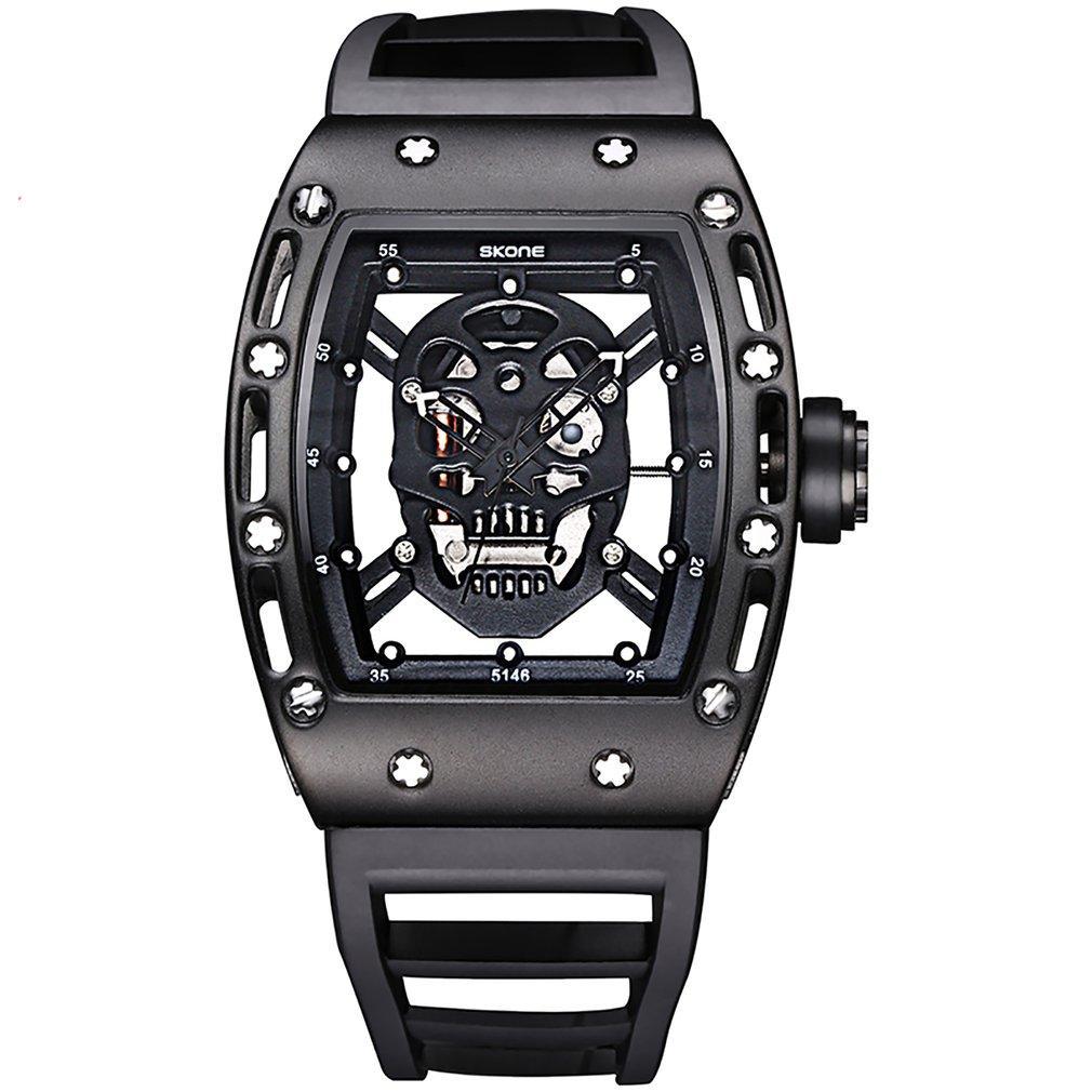 4f241da3908 Compre 2018 Punk 3D Crânio Homens Relógio De Luxo De Ouro De Ouro Preto Do  Vintage Skone Relógios De Pulso Noite Luminosa Casual Oco Relógios De  Quartzo De ...