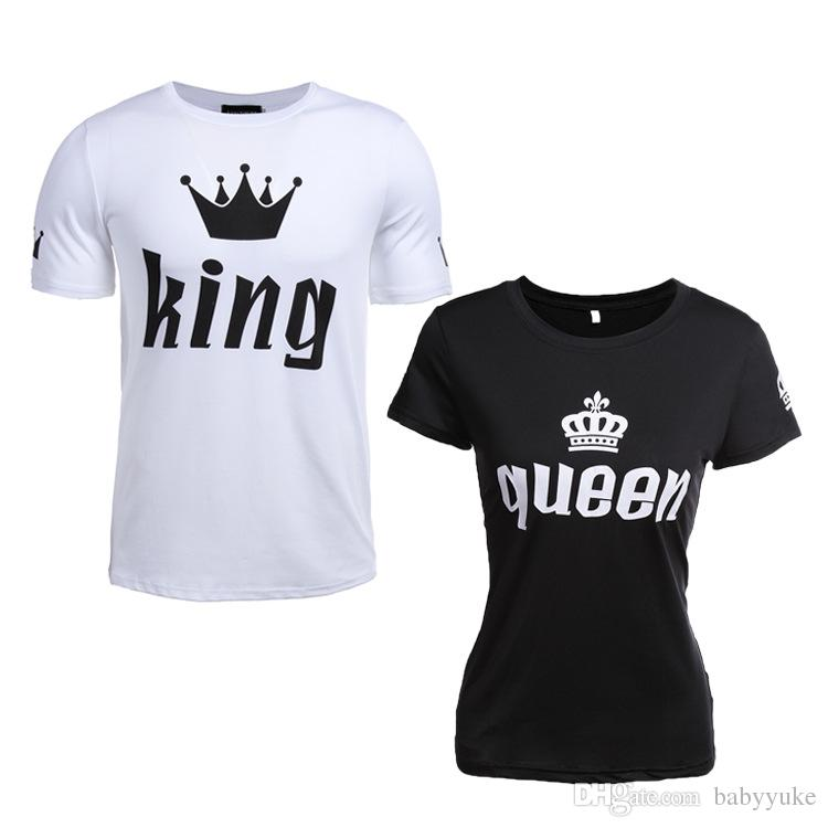 924734517395 Cheap T Shirts King Queen Crown Print Summer Lovers Clothes Men S Tees  Woman Top Couples Men And Women Short Sleeve T Shirt 273 Clever Tee Shirts  Now T ...