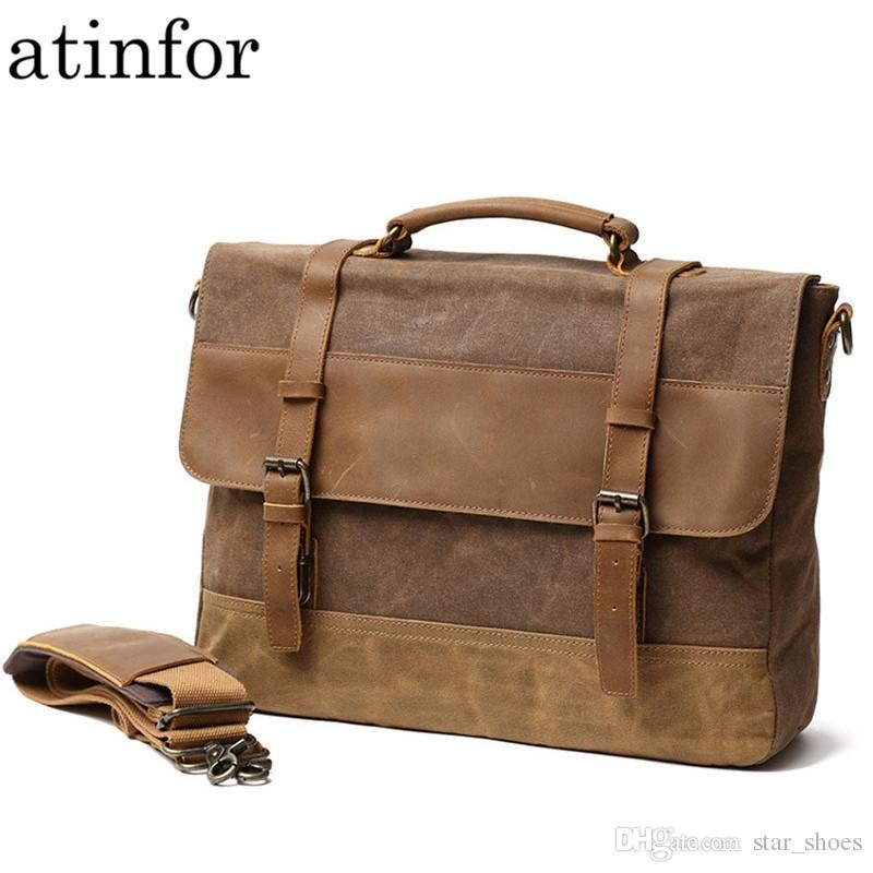6bed7631023a Vintage Oil Wax Genuine Leather with Canvas Briefcases Men Waterproof  Shoulder Bag Laptop Messenger Bags for Women #665644