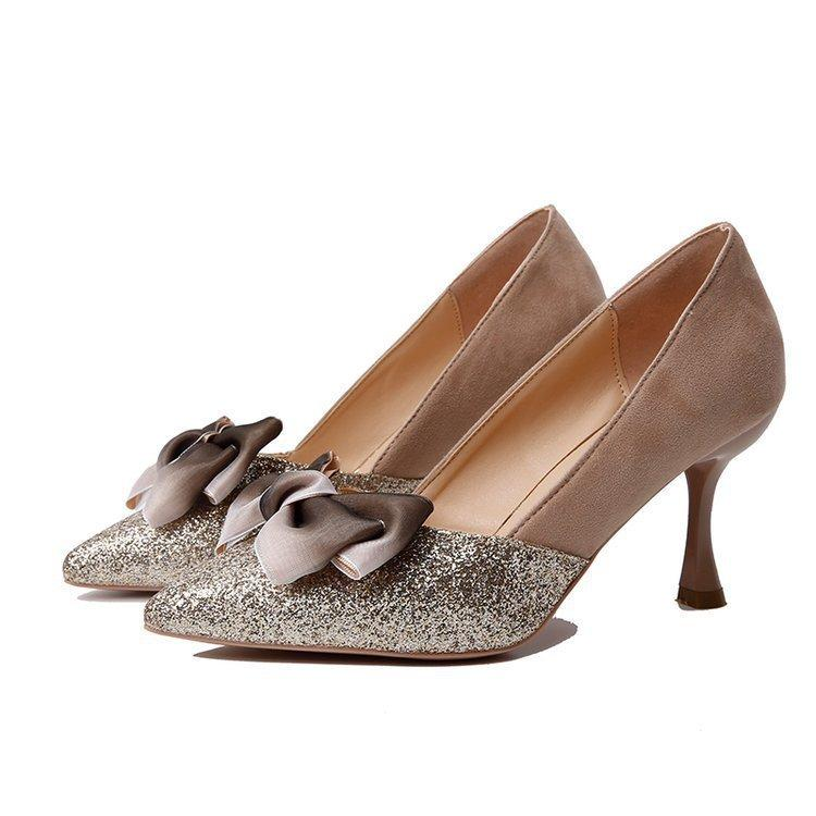 Girls High Heels Stiletto Princess 2019 New Korean Version Of The Pointed  Bow Single Shoes Women Fashion Gentle Shoes Fairy Birkenstock Shoes Brown  Dress ... 513986be7d93