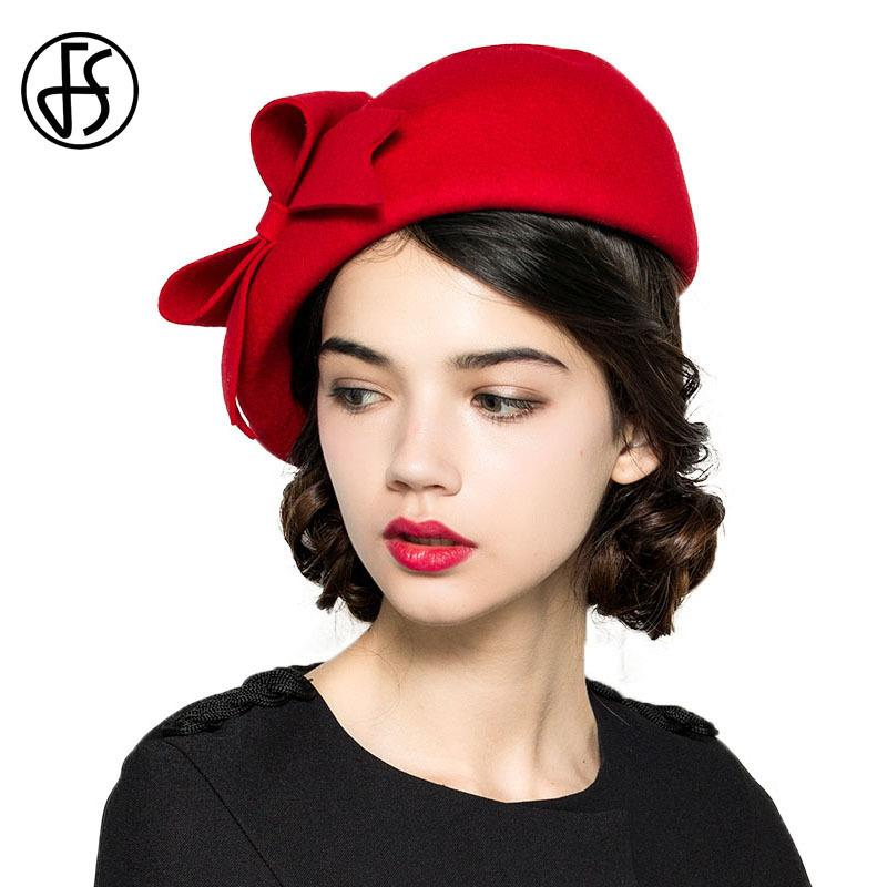 FS Elegant 100% Wool Felt Fedora White Black Ladies Red Hats Wedding  Fascinators Women Bowknot Berets Caps Pillbox Hat Chapeau D19011102 Wool Hat  Black Hats ... 4b5783ce3586