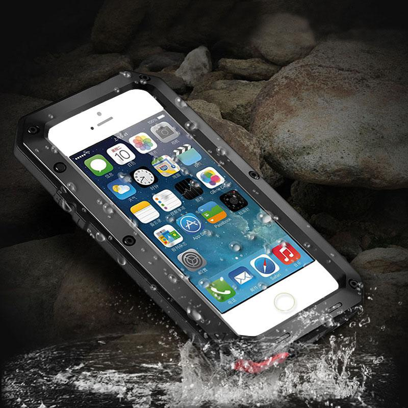 online retailer e2df8 92cdf Luphie Armor Silicone Case For iPhone 6 7 8&Plus Metal Aluminum Waterproof  Shockproof Case Built-in Screen Protector