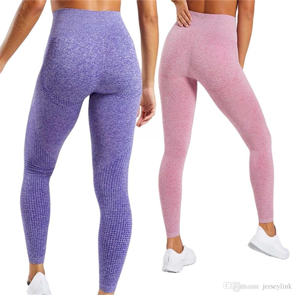 ee6708fc2bb5a 2019 Women Blue Seamless Leggings Tummy Control Yoga Leggings High Waist  Booty Sport Fitness Gym Athletic Tights #47715 From Jerseylink, $27.01 |  DHgate.Com