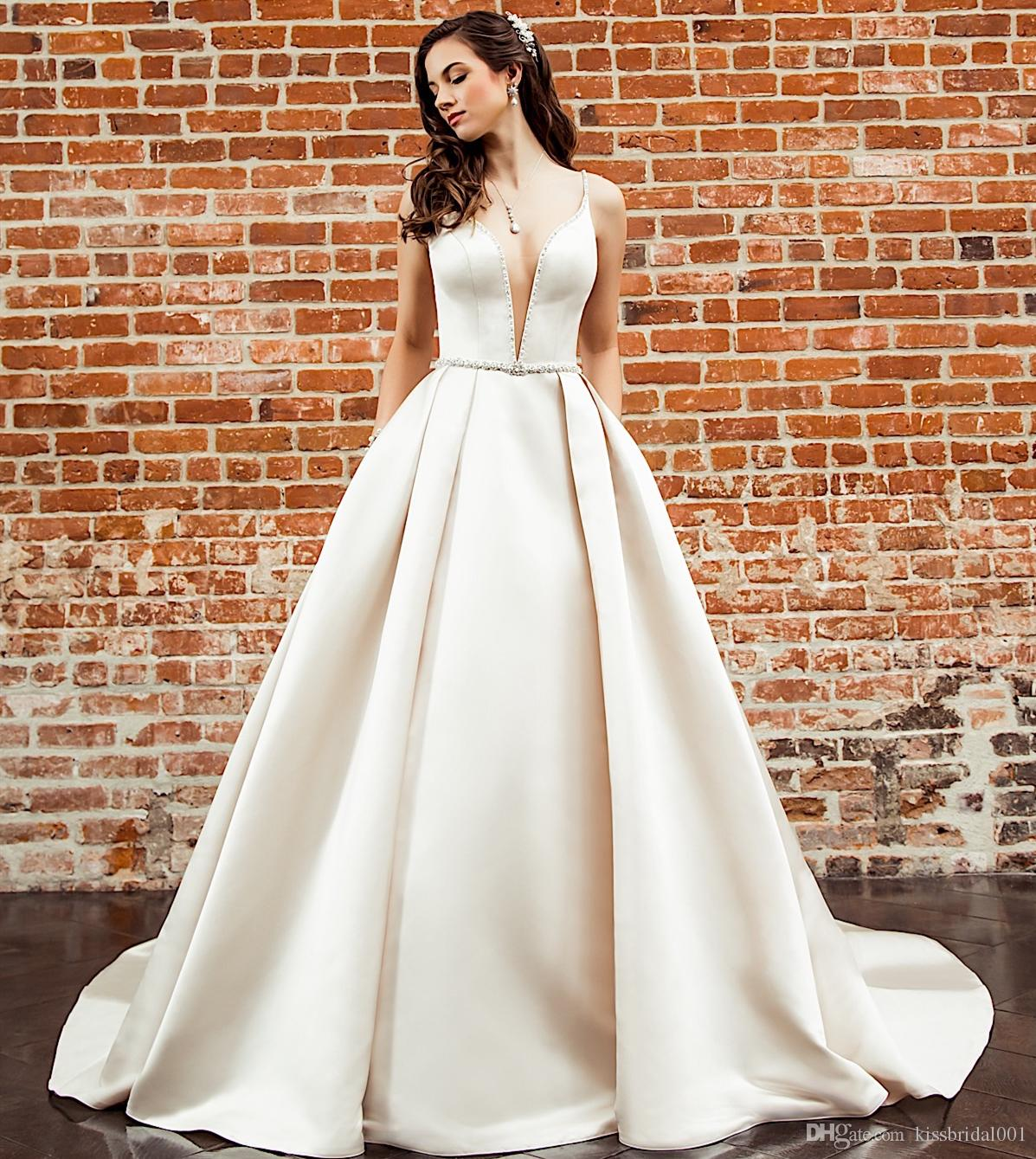 A Line Wedding Dresses Plunging Neckline Beaded Waist Satin Wedding Dress Bridal Gowns Cheap Bride Formal Gown