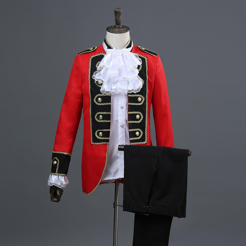 26a3236526719 European Red And Black Border Court Performing Men's Red Prince's Dresses  Mens Suit Two Piece Set Coat Pant Red Suits
