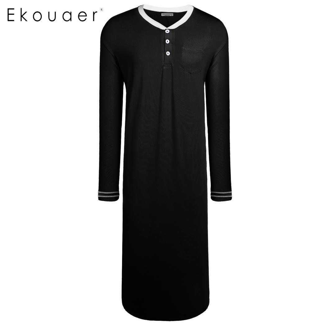 Ekouaer Men Nightwear Sleep Tops Long Sleeve Loose Long Sleep Shirts  Sleepwear Male Plus Size Home Clothes Nightshirts UK 2019 From Gavinuni 928bcc97b