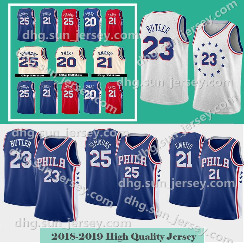 ab96a924041 2019 Jimmy 23 Butler 76ers Jersey Men S Philadelphia Joel 21 Embiid Ben 25  Simmons Markelle 20 Fultz Allen 3 Iverson Stitched Jerseys From  Welove jersey
