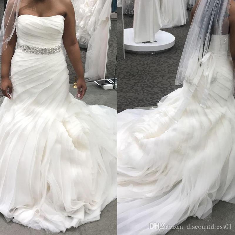 2019 Gorgeous Sweetheart Mermaid Wedding Dresses Plus Size Strapless Tiered Skirts Organza African Women Black Girl Bridal Gowns With Sash