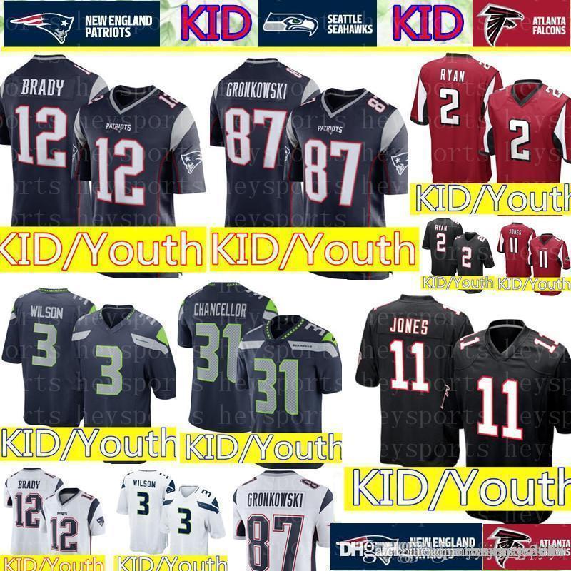 cf1a45f4797 2019 KID #12 Tom Brady Patriots Jersey Youth 11 Julio Jones Atlanta Falcons  KID 3 Russell Wilson Seattle Seahawks Jerseys Cheap Wholesale From ...
