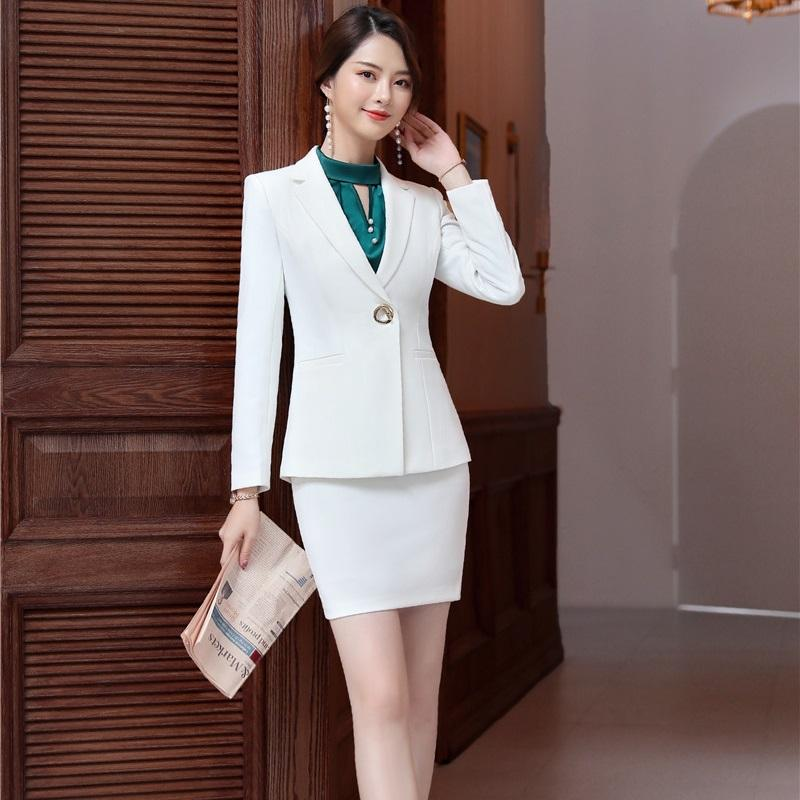 52bda76c7cc23 2019 Novelty White Formal Blazers Women Business Suits With Jackets And  Skirt 2019 Spring Fall Ladies Office Work Wear Skirt Set From Aqueen, ...