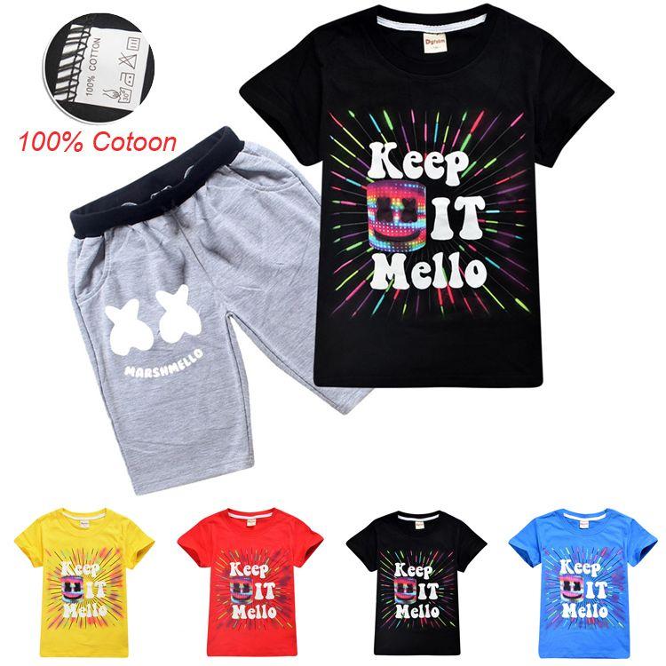 DJ Marshmello Summer Kids Clothing Sets 6-14t Kids Boys Cartoon Printed  100% Cotton T-shirt + Shorts 2 Piece Set kids designer clothes SS96