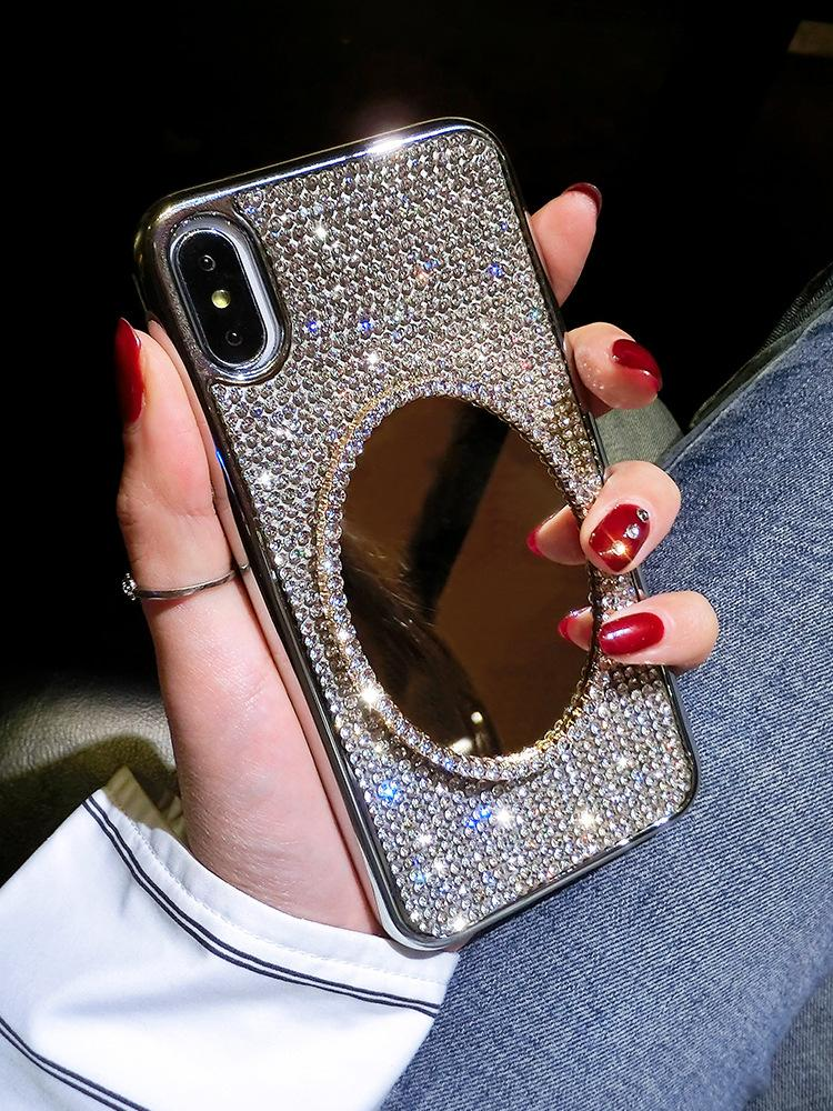 super popular 84e35 1fa1b fashion luxury diamond cellphone mirror case cover make up mirror case for  iphone 6/6s 7/8 x/xs xr max best price