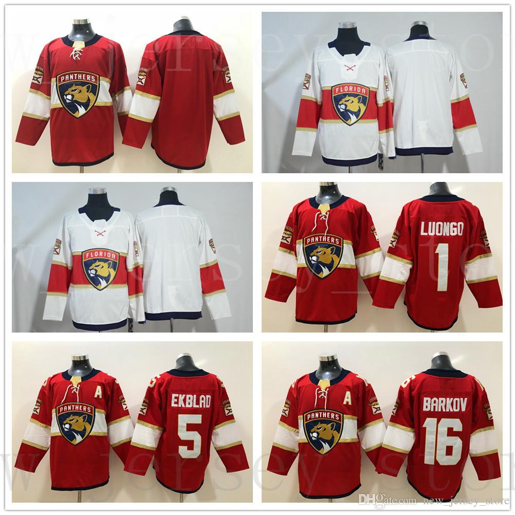 ec72c5b83 2019 New AD Florida Panthers Jerseys 16 Aleksander Barkov Blank 1 Roberto  Luongo 5 Aaron Ekblad Jersey Home Red Stitched White Ice Hockey Jerseys  From ...