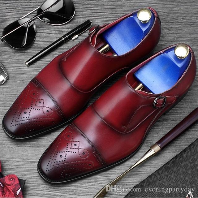 9807d633c80524 New Luxury Man Formal Dress Wedding Shoes Genuine Leather Carved ...