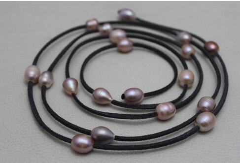 New Arriver Leather Pearl Jewelry Dark Gray Leather Natural Purple Freshwater Pearl Necklace 10x12mm 48 inches