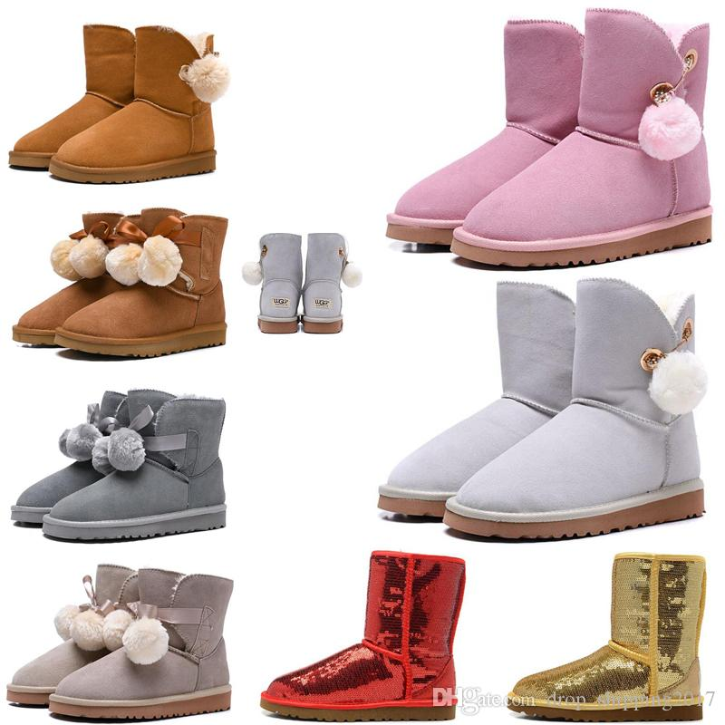 2019 Newest Australia Women Boots Classic Snow Boots tall Bailey Bowknot girl winter top quality Keep warm des chaussures size 36-41