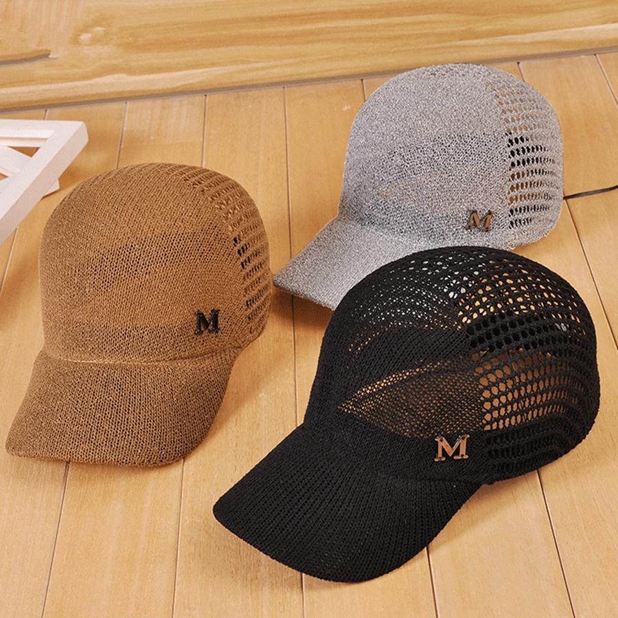 91e1d09e018 2019 M Letter Baseball Caps Fashion Hollowed Knitting Sun Hat Causal ...