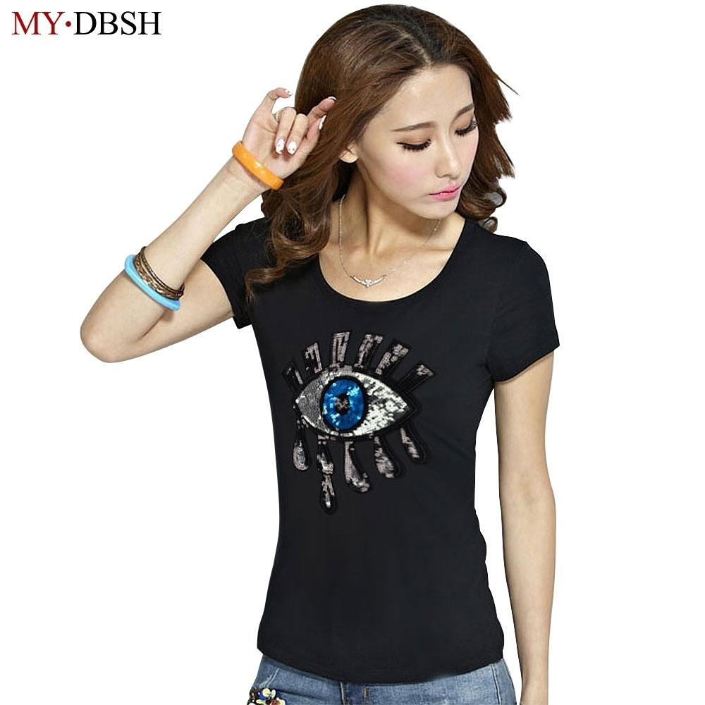 b907e73a98501 2019 Summer Style Fashion Big Eyes Sequin T Shirt Women Cotton Casual Tears  Short Sleeve T Shirt Women Tops Tees Y190123 Awesome Tshirt Designs 10 T  Shirts ...