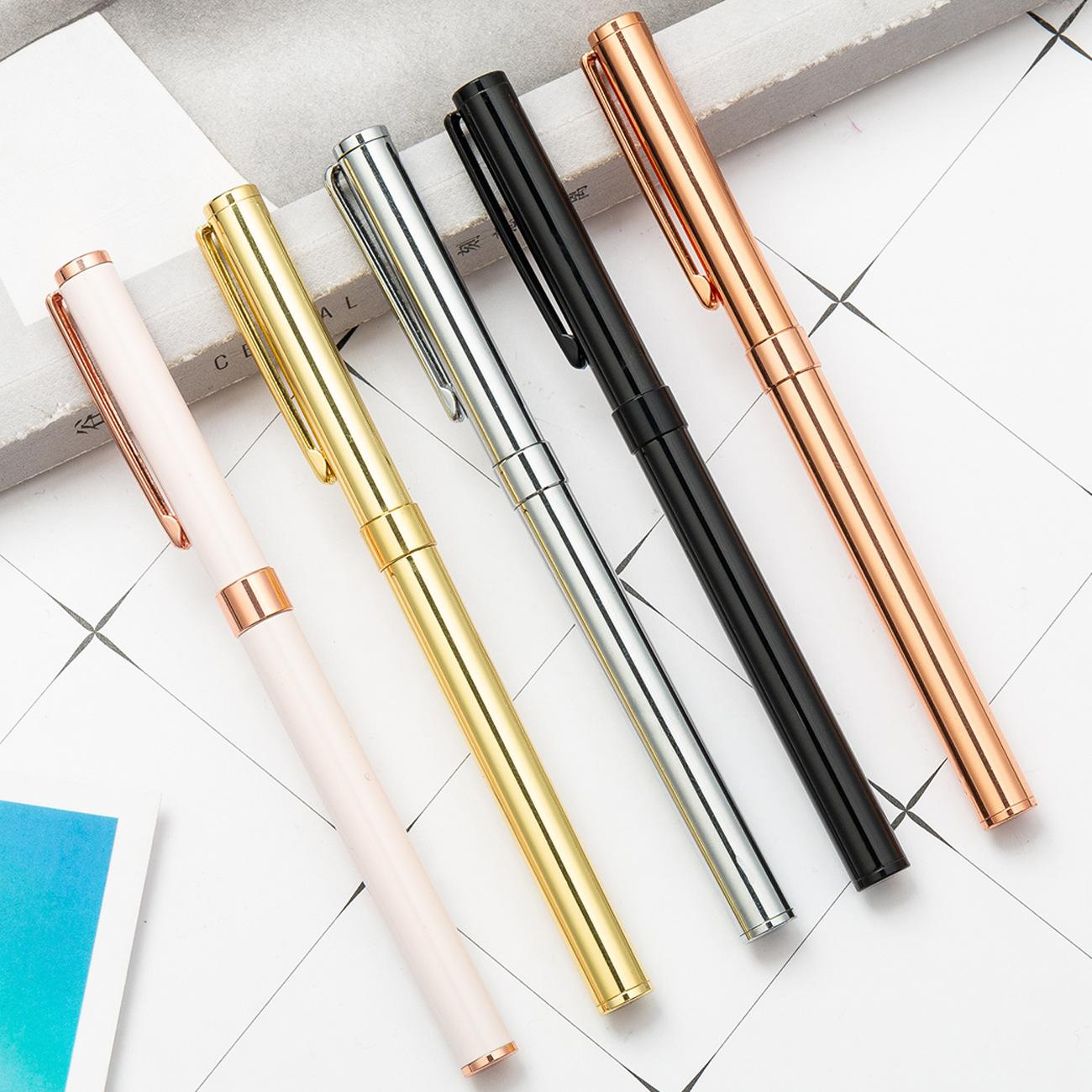 New 0.5mm Office Writing Gel Pen Learning Learning Gifts Metal Business Signature Pen Creative Treasure Beads Pen