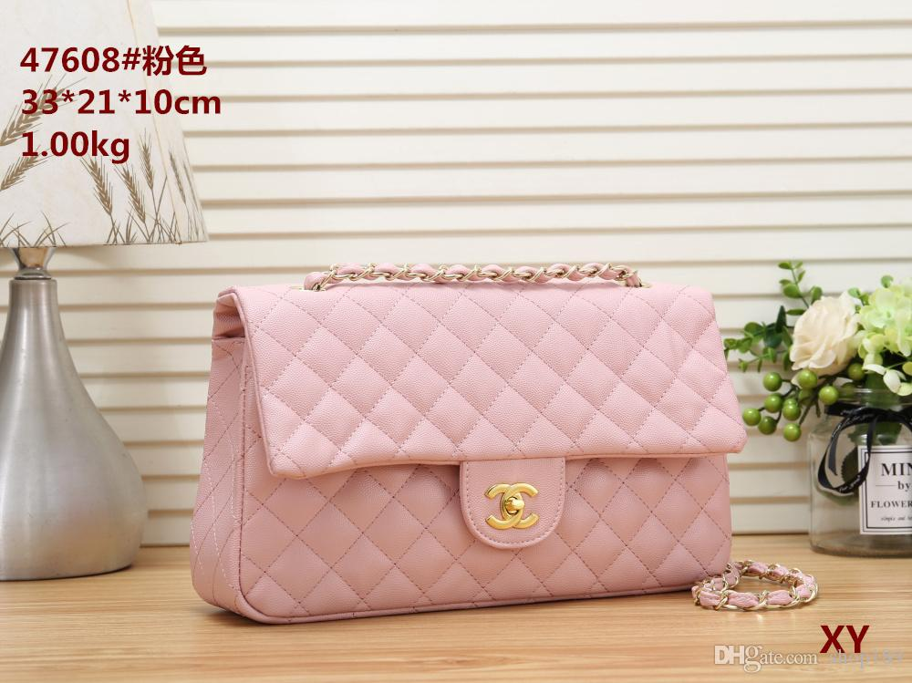 2020 new High Quality Fashion women's leather Handbag Double Flap Shoulder Bags Quilted Chain totes bag purse wallet free shipping 265