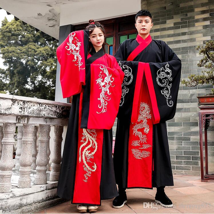 7cb238a6e 2019 Chinese Ancient Couple Winter Hanfu Dress Large Sleeves Lovers Traditional  Costume Man Lady China Stage Clothing Ancient Outfit From Fleming627, ...