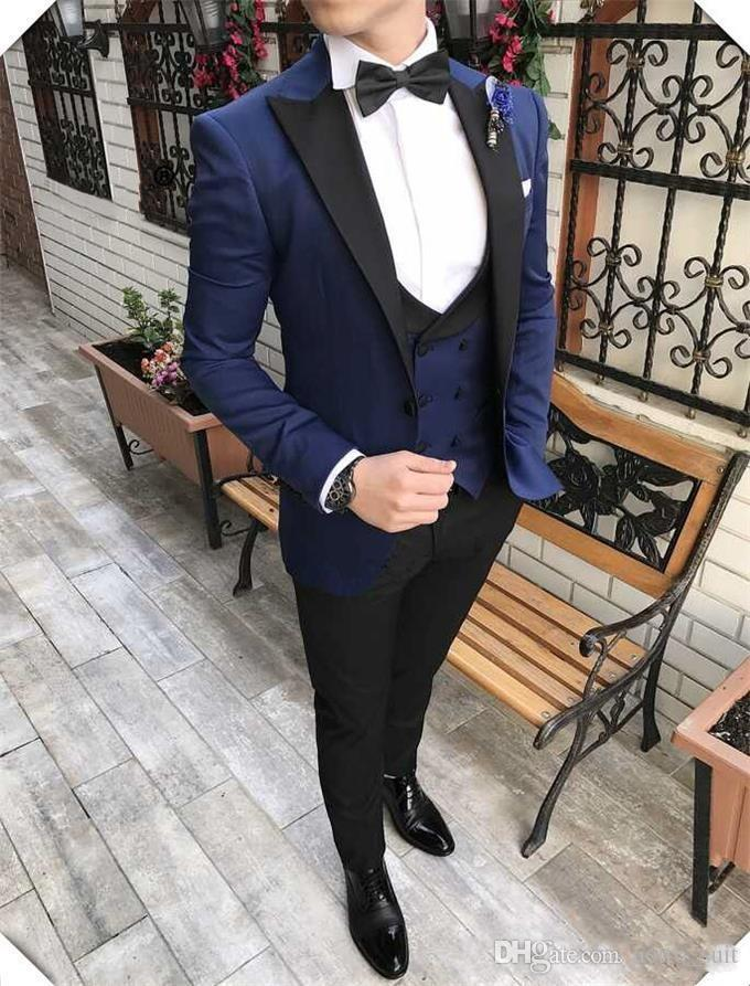 Bleu marine Tuxedos Groom Peak Lapel Slim Fit Tuxedos de mariage pour Homme Excellent Jacket Blazer 3 Piece Suit (Veste + Pantalon + Gilet + Cravate) 827