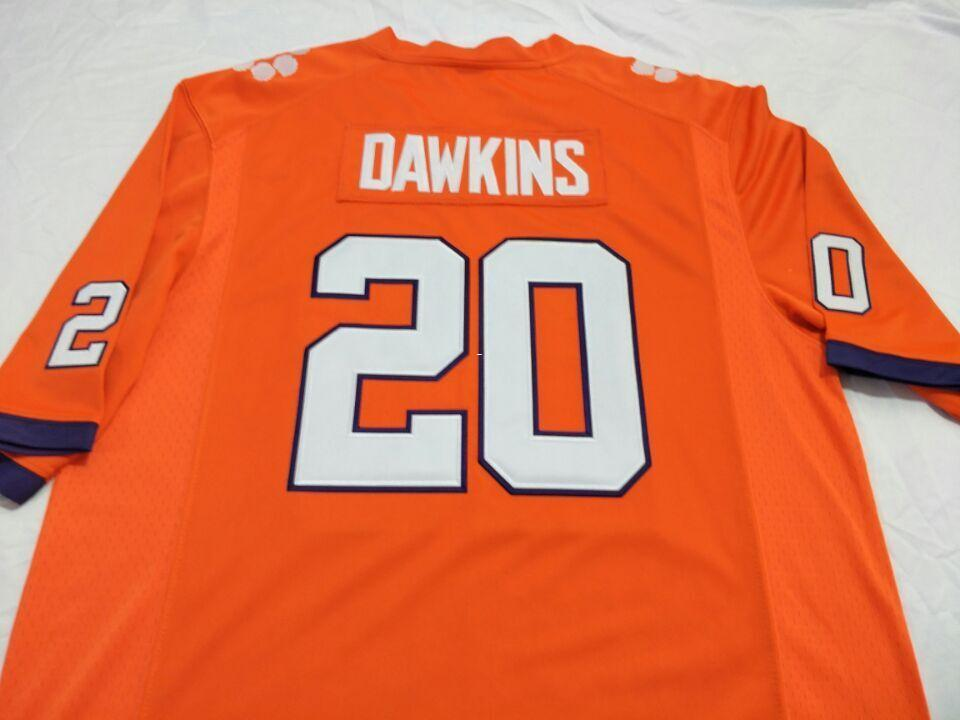 pretty nice 22293 ecb63 Men Clemson Tigers Brian Dawkins #20 real Full embroidery College Jersey  Size S-4XL or custom any name or number jersey