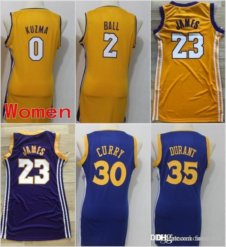 low priced 4bf46 c9e84 Women Los Angeles 23 James Lakers Jerseys Golden State 30 Stephen LeBron  Curry Warriors 35 Durant 0 Kyle Kevin Kuzma 2 Ball Stitched Lonzo