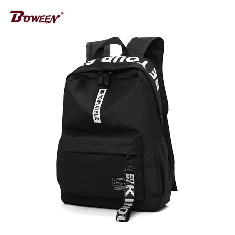 Women Backpack Female Nylon Teens Men Schoolbag Casual Style Student School Bags for Teenage Girls Back Pack Solid