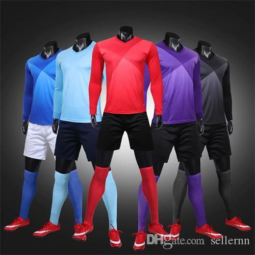 2019 Adult longsleeve kits Customized your team Logo Blank Soccer Jerseys set Uniform Camisetas de Futbol Football Shirt free ship