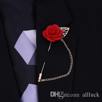 Brooch Pins Ribbon Lapel Flower Rose Handmade Boutonniere Brooch Pin Men's Accessories Brooches Pin Jewelry Wholesale Free Shipping 0406WH