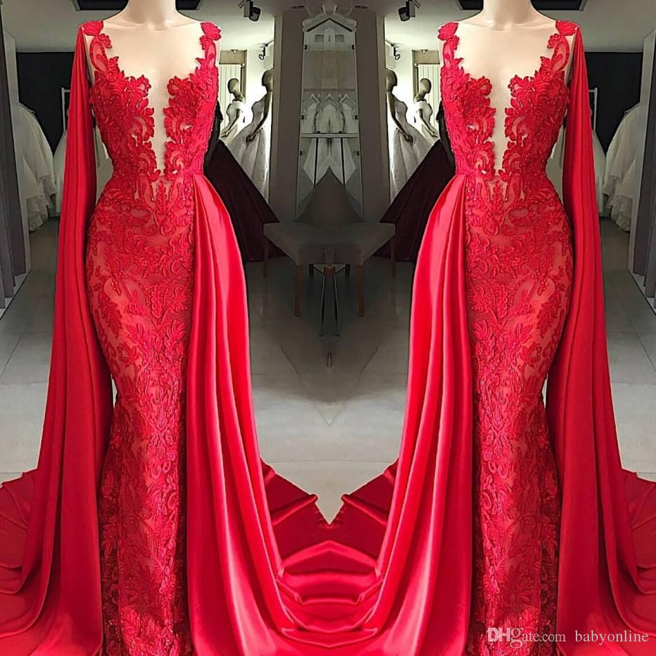 2019 New Red Lace Evening Dresses Sheer Neck With Wrap