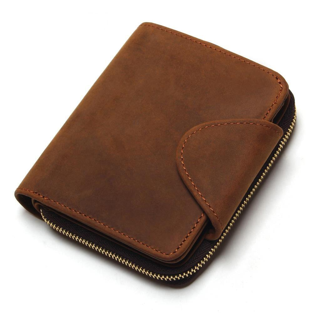 b7ef5414faca Zipper Around Wallet Men Leather Genuine Men S Vintage Grazy Horse Cowhide  Leather Big Capacity Short Purse With Zipper Pocket Awesome Wallets  Handmade ...
