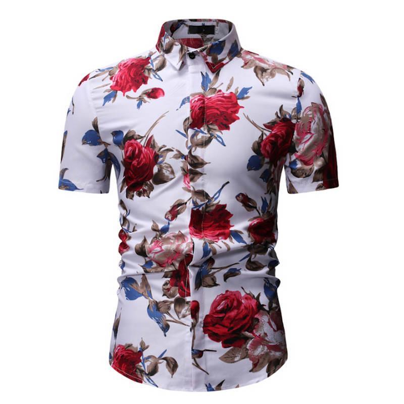 Hombre Floral De Ropa Verano Camisa Slim Flores Para Camisas Tallas Fit Manga 2019 Moda Corta Tendencia Grandes Xn0PN8wOk