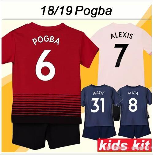 6f7803329 2019 2019 Kids Kit  6 POGBA 3rd Blue Soccer Jerseys Child Youth Sets 18 19  Kids Set  7 ALEXIS Children Football Uniform  10 RASHFORD From Jersey2001