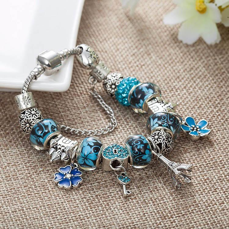 Fashion DIY Castle Beaded Bracelet for Pandora High Quality Beaded Pendant Ladies Bracelet with gift A1
