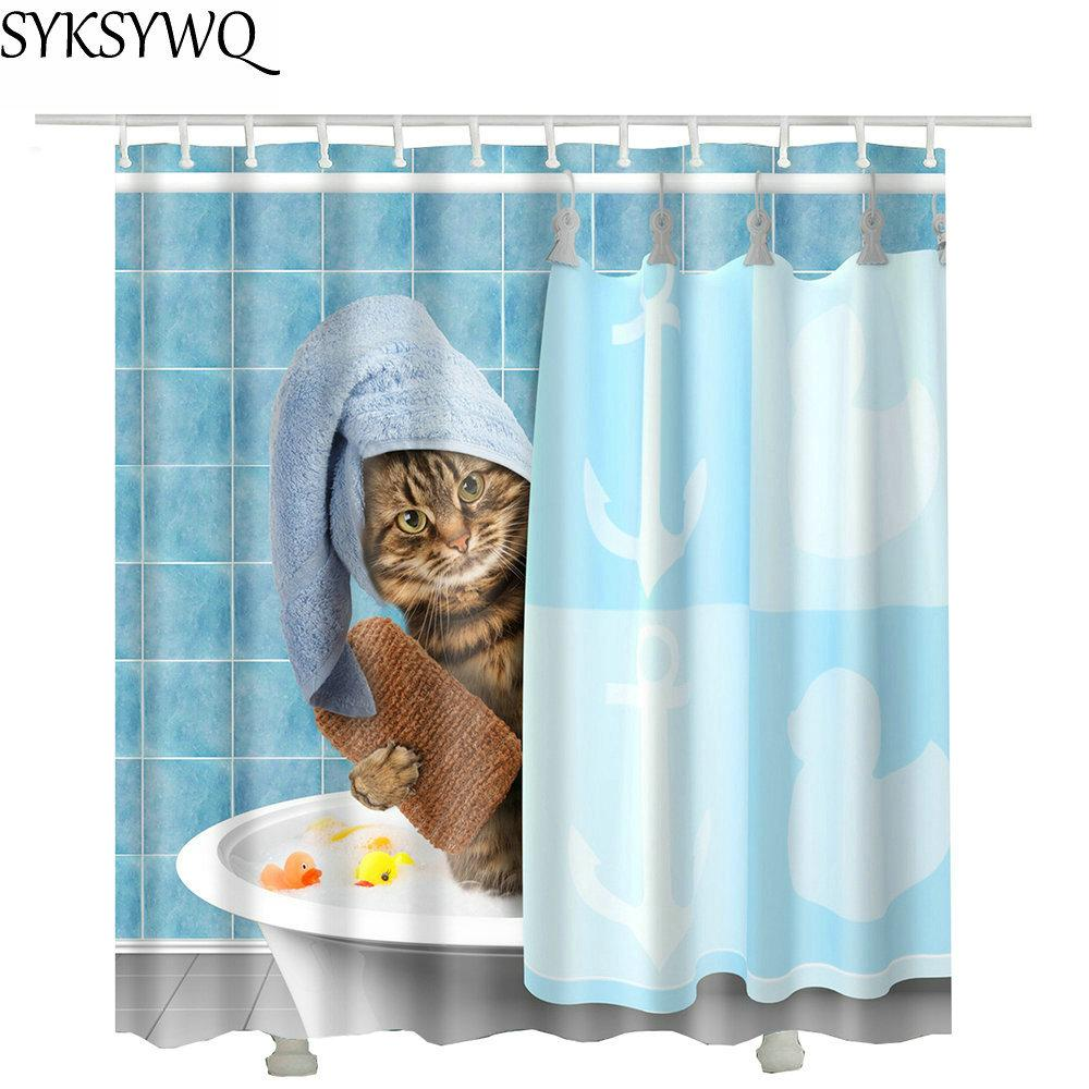 2019 Cutely Pet Cat Take Bath Shower Curtains Drop Shopping Creative Waterproof Polyester Fabric Curtain Bathroom C18112201 From Mingjing03