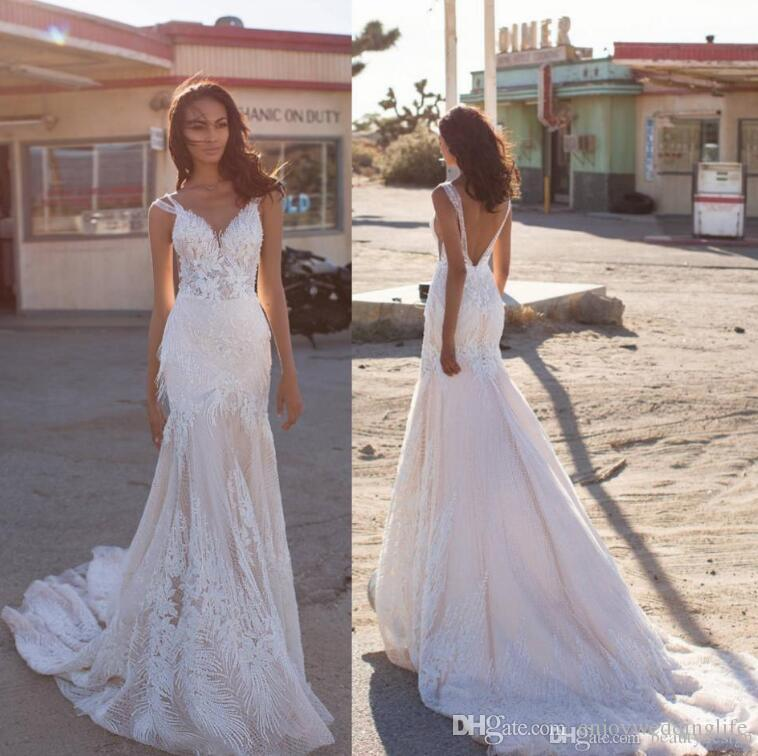 Milla Nova 2019 New Arrival V Neck Mermaid Wedding Dresses Sexy Backless Lace Appliques Custom Made Beach Wedding Gowns