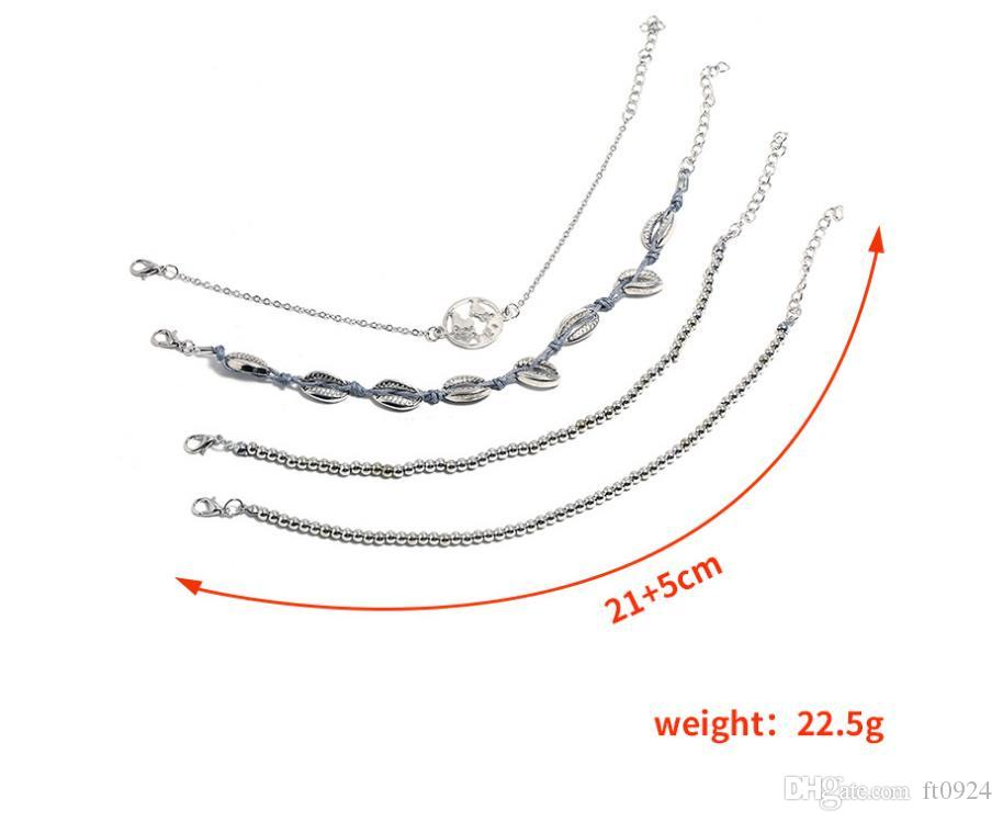 New European and American fashion trend personality simple Bracelet shell chain map big bead chain bracelet Jewelry four sets
