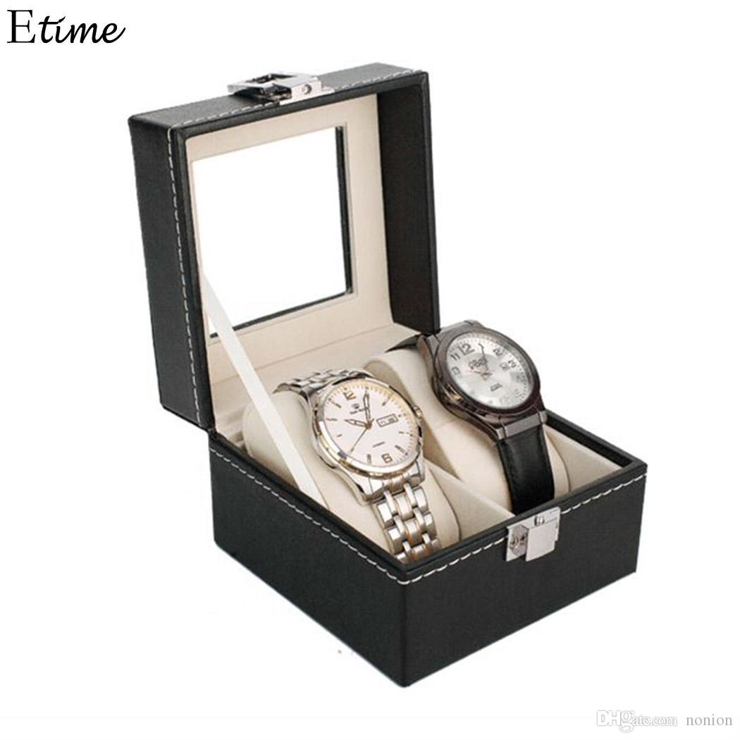 Watch Box 2 Grid Slots Watch Winder PU Leather boite montre Jewelry Organizer Watches Display Storage Box Case