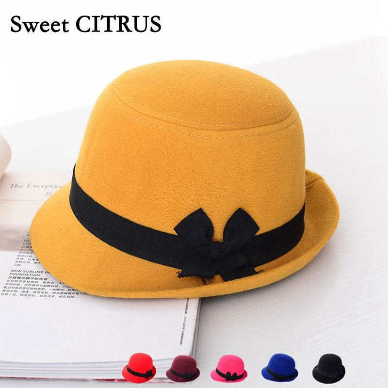 e20efd8f5e8 2019 Sweet CITRUS Vogue Women Girls Sun Hats Vintage Bowler Trilby Bowknot  Fedoras Autumn Winter Hats Lady Cute Wool Felt Cloche Caps From  Watcheshomie