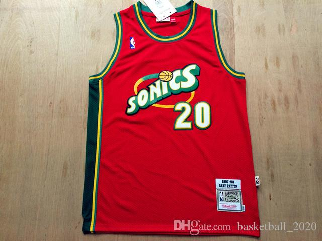 official photos aabc2 6940d Retro Seattle 20 Gary Payton Red Authentic Mesh Jersey Mens  1997-98Supersonics Mitchell & Ness Hardwoods Classics Retro Basketball  Jersey