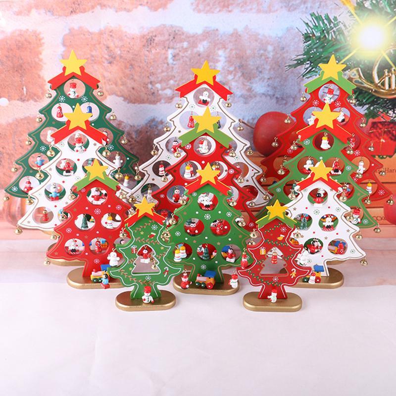 Children Christmas Tree Decorations.Hot Diy Mini Wooden Christmas Trees Decor Ornaments Festival Party Xmas Tree Table Desk Xmas Decoration Children Christmas Gifts