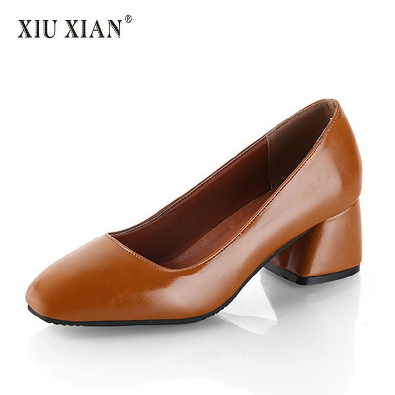 3e96d938cb2ea 2019 Summer Autumn New Fashion Women OL Working Pumps PU Leather Shallow  Thick Mid Heel Comfortable Square Toe Elegant Lady Shoe Comfort Shoes Mens  Boat ...