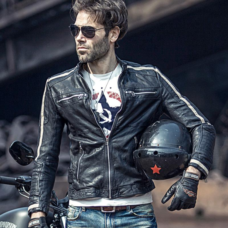 Motorcycle leather men's thin leather jacket Slim Korean version of vegetable tanned sheep handsome jacket autumn