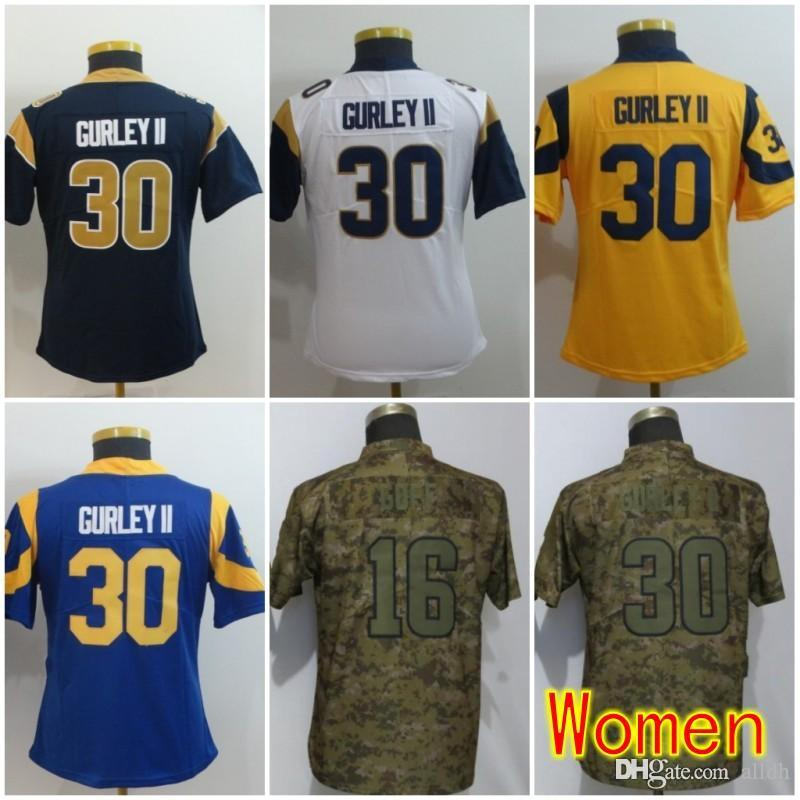 a0f9aba6b Women Los Angeles Jerseys 30 Todd Gurley 16 Jared Goff Rams 99 Aaron ...
